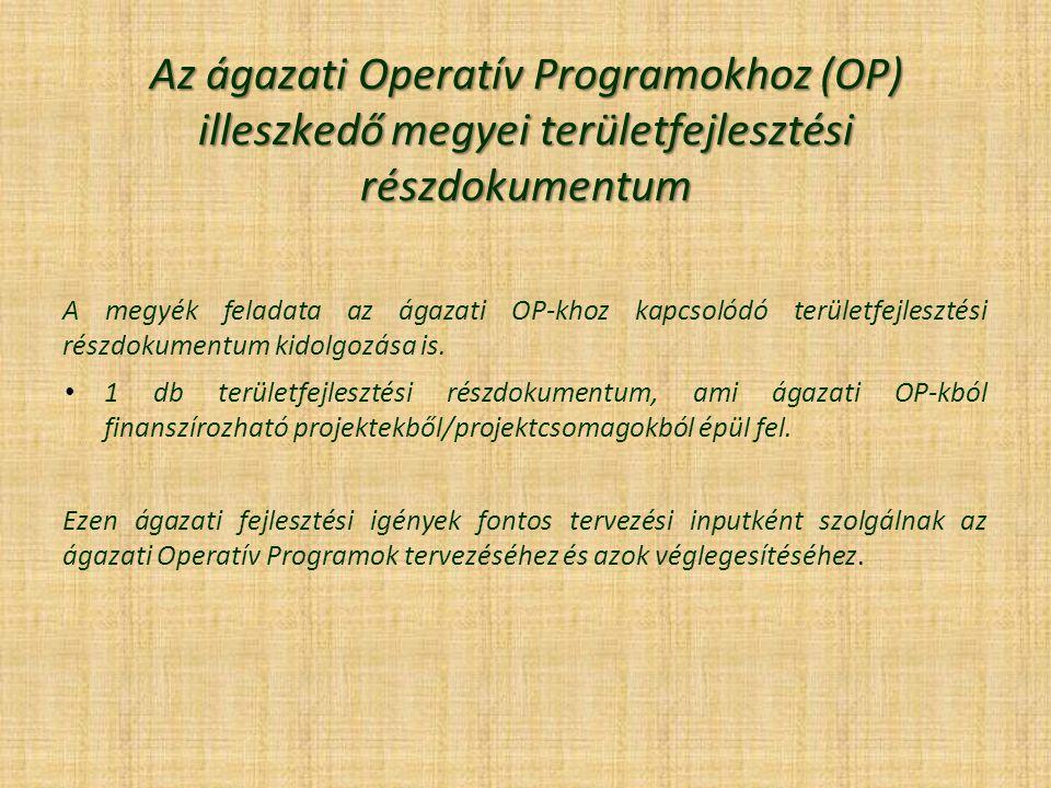 Az ágazati Operatív Programokhoz (OP) illeszkedő megyei területfejlesztési részdokumentum A megyék feladata az ágazati OP-khoz kapcsolódó területfejlesztési részdokumentum kidolgozása is.