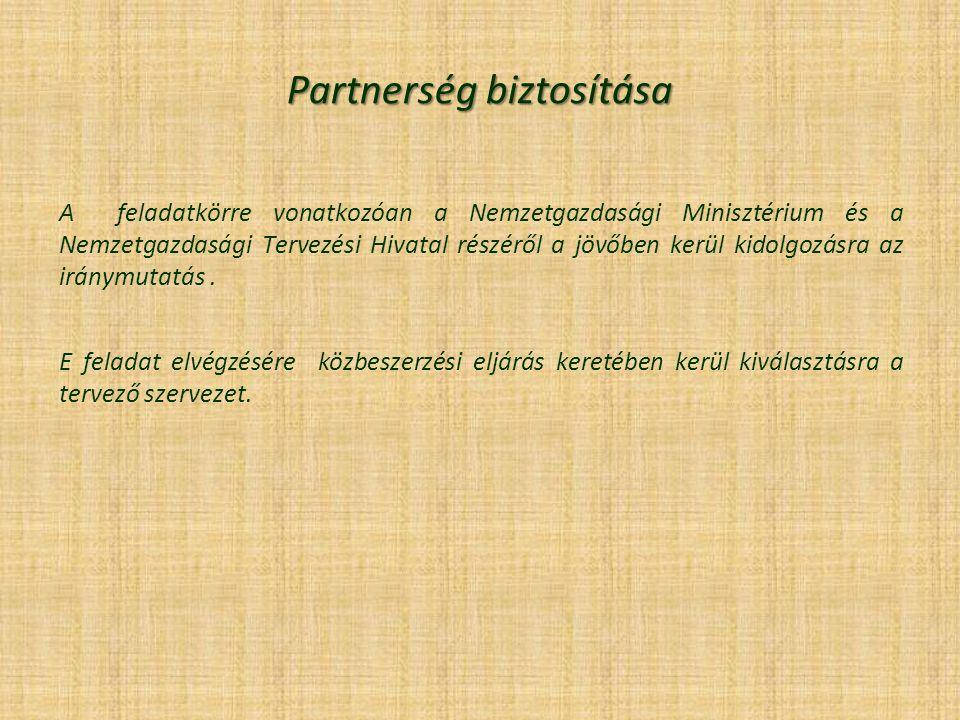 Partnerség biztosítása A feladatkörre vonatkozóan a Nemzetgazdasági Minisztérium és a Nemzetgazdasági Tervezési Hivatal részéről a jövőben kerül kidolgozásra az iránymutatás.