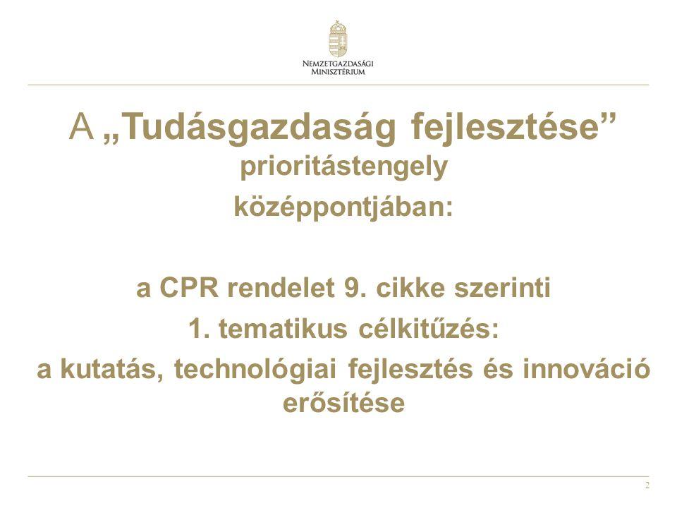 """2 A """"Tudásgazdaság fejlesztése prioritástengely középpontjában: a CPR rendelet 9."""