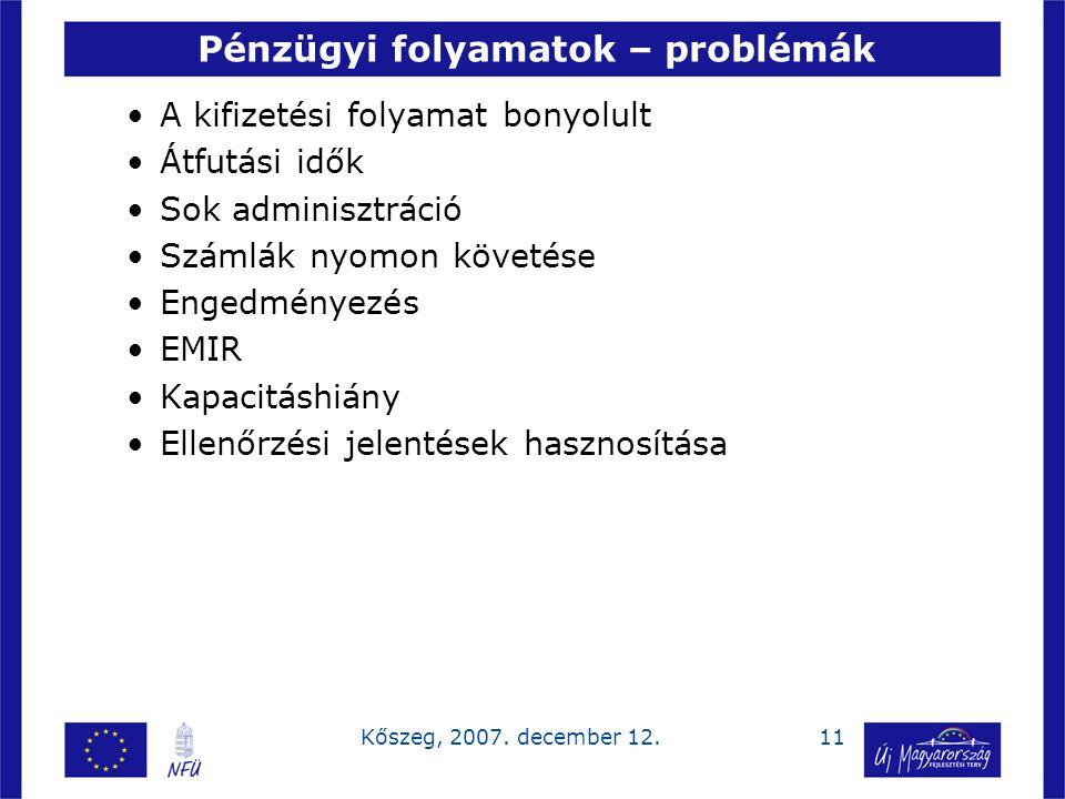 11Kőszeg, 2007. december 12. Pénzügyi folyamatok – problémák A kifizetési folyamat bonyolult Átfutási idők Sok adminisztráció Számlák nyomon követése