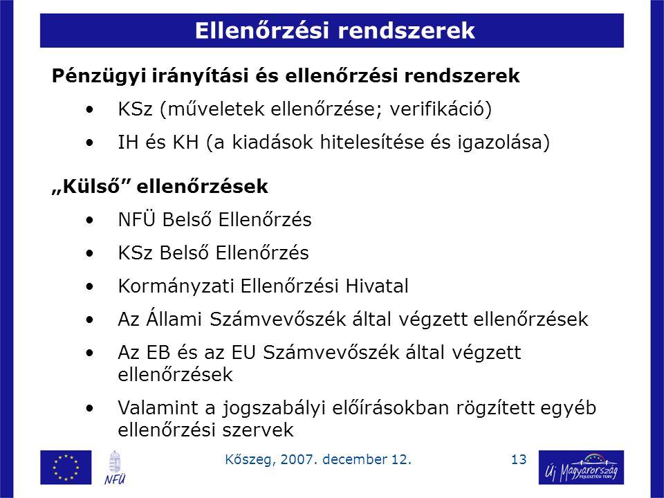 13Kőszeg, 2007. december 12. Ellenőrzési rendszerek Pénzügyi irányítási és ellenőrzési rendszerek KSz (műveletek ellenőrzése; verifikáció) IH és KH (a