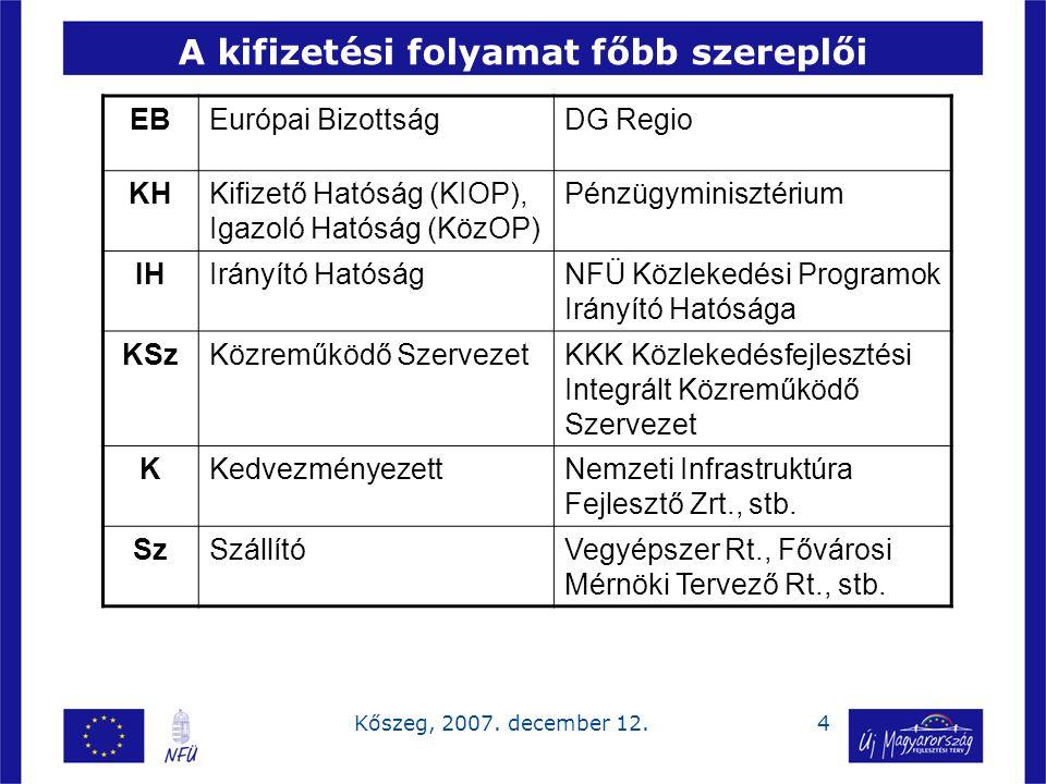 4Kőszeg, 2007. december 12. A kifizetési folyamat főbb szereplői EBEurópai BizottságDG Regio KHKifizető Hatóság (KIOP), Igazoló Hatóság (KözOP) Pénzüg