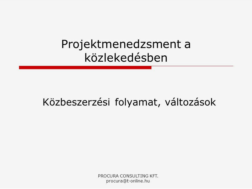 PROCURA CONSULTING KFT. procura@t-online.hu Projektmenedzsment a közlekedésben Közbeszerzési folyamat, változások