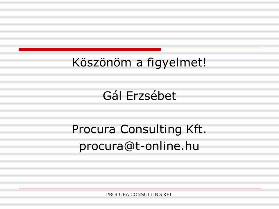 PROCURA CONSULTING KFT. Köszönöm a figyelmet! Gál Erzsébet Procura Consulting Kft. procura@t-online.hu