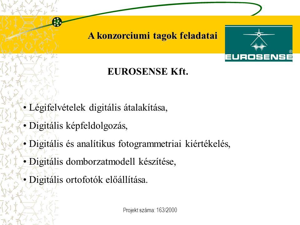 Projekt száma: 163/2000 A konzorciumi tagok feladatai EUROSENSE Kft. Légifelvételek digitális átalakítása, Digitális képfeldolgozás, Digitális és anal