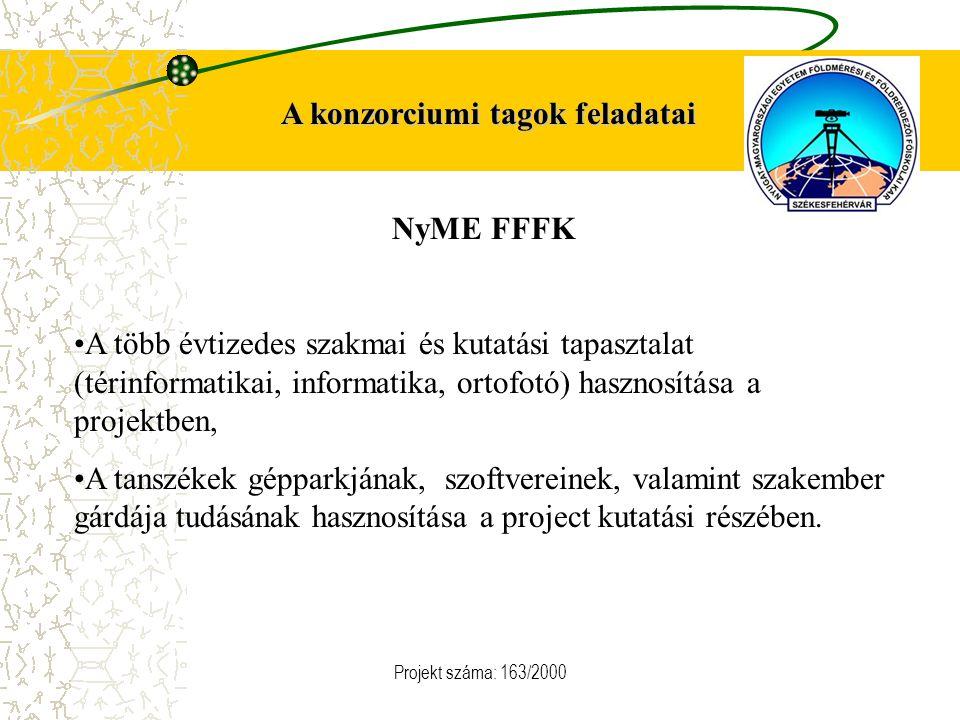 Projekt száma: 163/2000 A konzorciumi tagok feladatai NyME FFFK A több évtizedes szakmai és kutatási tapasztalat (térinformatikai, informatika, ortofotó) hasznosítása a projektben, A tanszékek gépparkjának, szoftvereinek, valamint szakember gárdája tudásának hasznosítása a project kutatási részében.