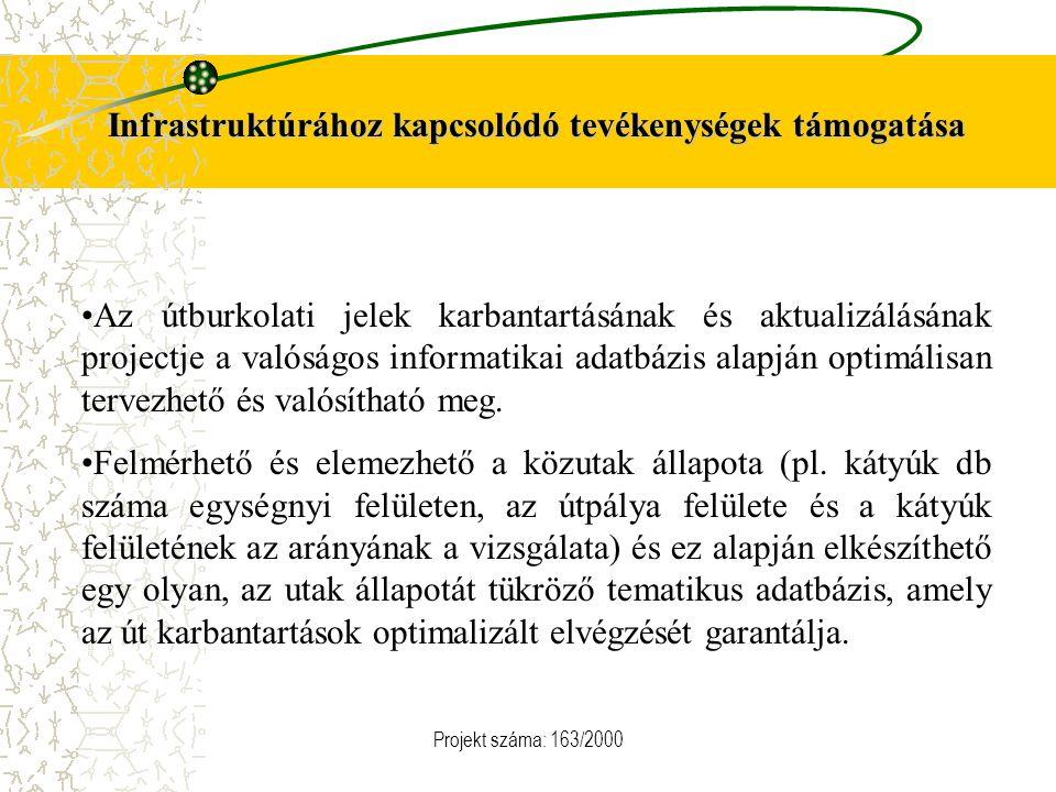 Projekt száma: 163/2000 Infrastruktúrához kapcsolódó tevékenységek támogatása Az útburkolati jelek karbantartásának és aktualizálásának projectje a va