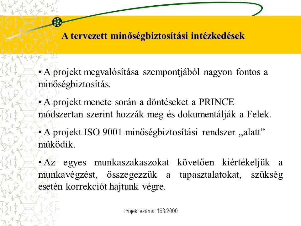 Projekt száma: 163/2000 A tervezett minőségbiztosítási intézkedések A projekt megvalósítása szempontjából nagyon fontos a minőségbiztosítás. A projekt