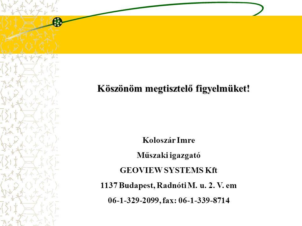 Köszönöm megtisztelő figyelmüket! Koloszár Imre Műszaki igazgató GEOVIEW SYSTEMS Kft 1137 Budapest, Radnóti M. u. 2. V. em 06-1-329-2099, fax: 06-1-33