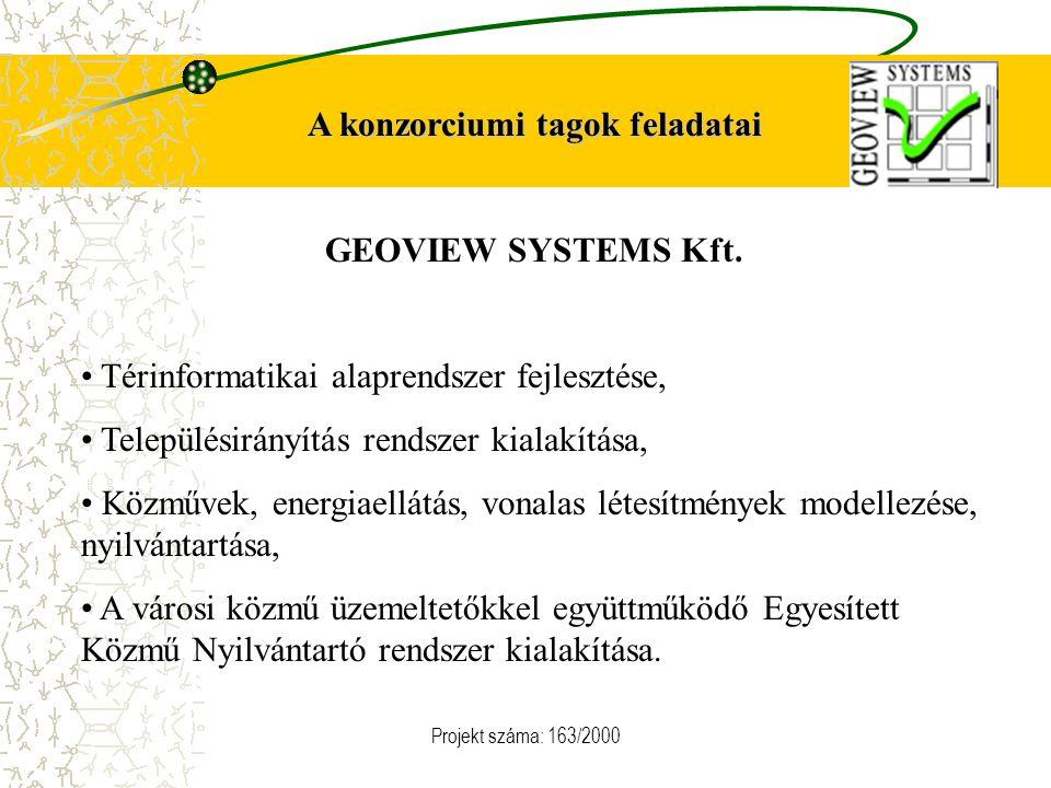 Projekt száma: 163/2000 A konzorciumi tagok feladatai GEOVIEW SYSTEMS Kft. Térinformatikai alaprendszer fejlesztése, Településirányítás rendszer kiala