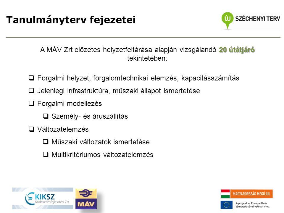 Tanulmányterv fejezetei 20 útátjáró A MÁV Zrt előzetes helyzetfeltárása alapján vizsgálandó 20 útátjáró tekintetében:  Forgalmi helyzet, forgalomtechnikai elemzés, kapacitásszámítás  Jelenlegi infrastruktúra, műszaki állapot ismertetése  Forgalmi modellezés  Személy- és áruszállítás  Változatelemzés  Műszaki változatok ismertetése  Multikritériumos változatelemzés