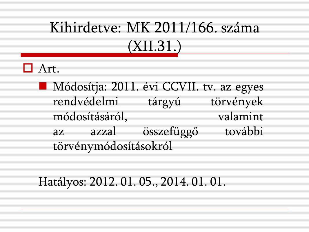 Kihirdetve: MK 2011/166. száma (XII.31.)  Art. Módosítja: 2011.