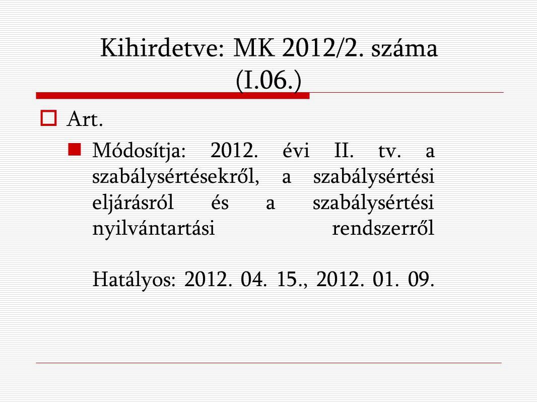 Kihirdetve: MK 2012/2. száma (I.06.)  Art. Módosítja: 2012.