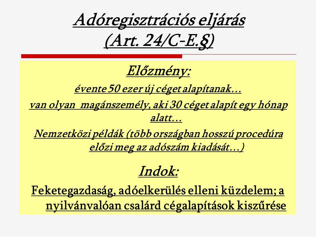 Adóregisztrációs eljárás (Art.