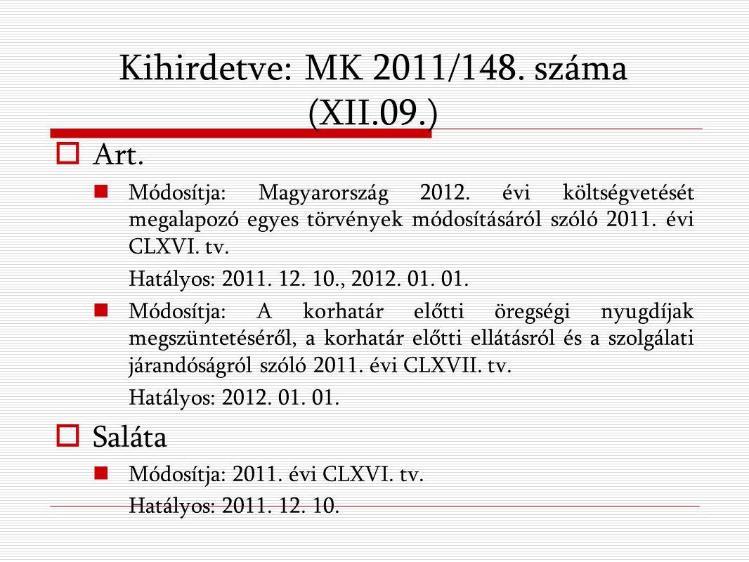 Kihirdetve: MK 2011/148. száma (XII.09.)  Art. Módosítja: Magyarország 2012.