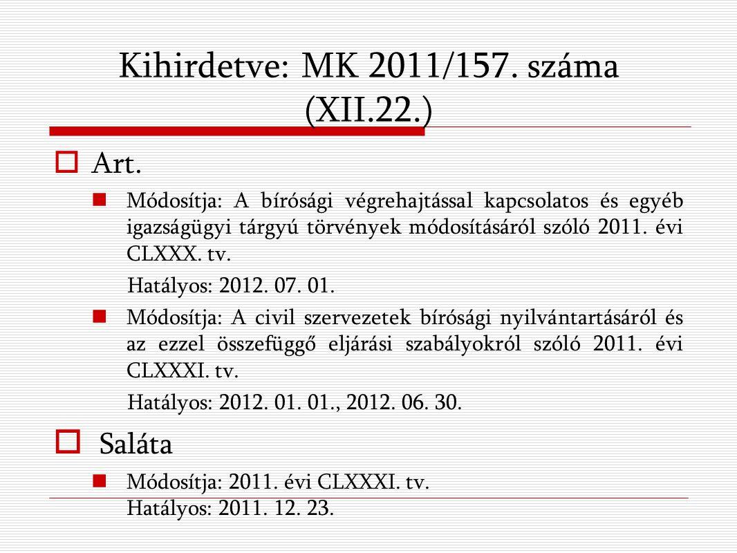 Kihirdetve: MK 2011/157. száma (XII.22.)  Art.