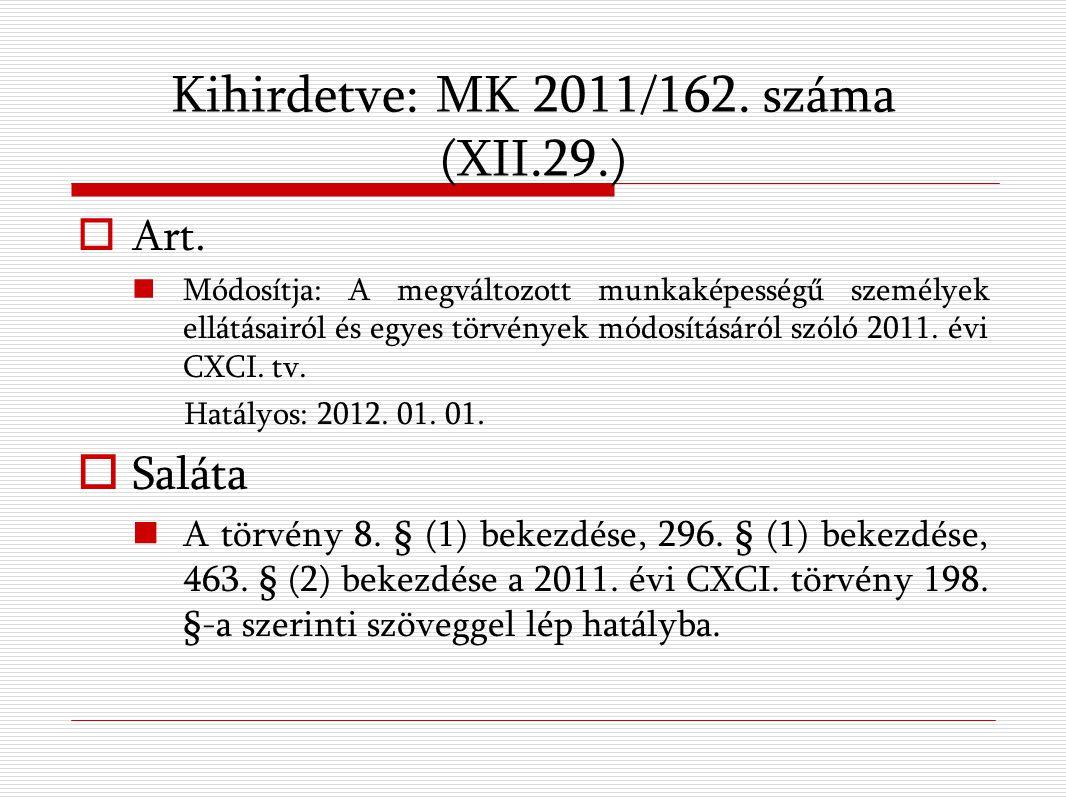 Kihirdetve: MK 2011/162. száma (XII.29.)  Art.
