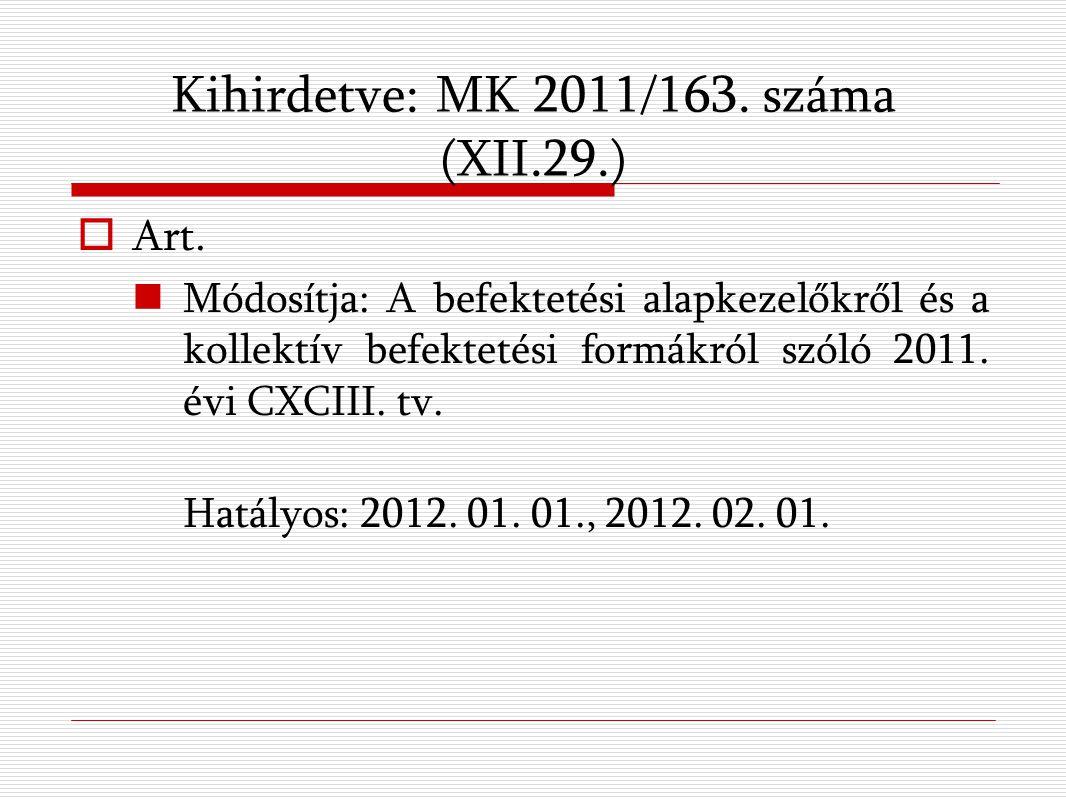Kihirdetve: MK 2011/163. száma (XII.29.)  Art.