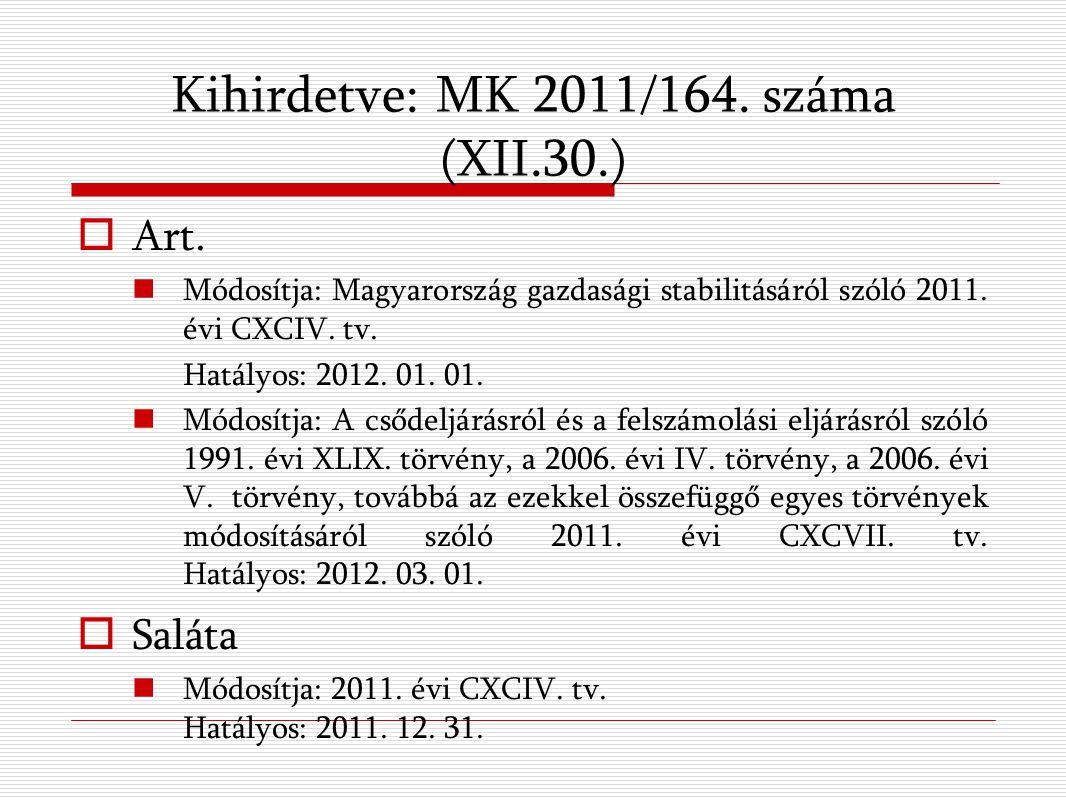 Kihirdetve: MK 2011/164. száma (XII.30.)  Art.