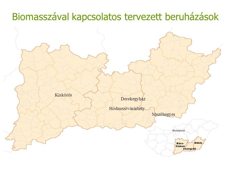 Biomasszával kapcsolatos tervezett beruházások Hódmezővásárhely Kiskőrös Mezőhegyes Derekegyház
