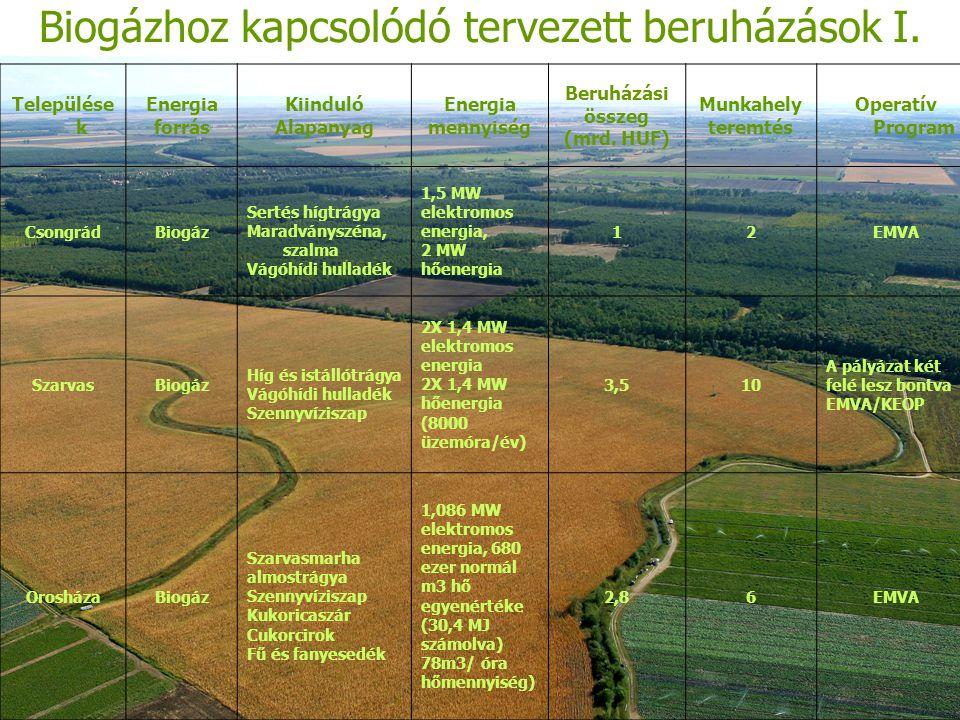 Biogázhoz kapcsolódó tervezett beruházások I.
