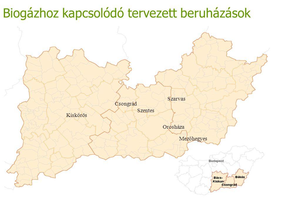 Biogázhoz kapcsolódó tervezett beruházások Csongrád Szarvas Orosháza Mezőhegyes Kiskőrös Szentes
