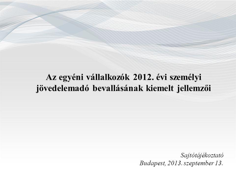 Az egyéni vállalkozók 2012. évi személyi jövedelemadó bevallásának kiemelt jellemzői Sajtótájékoztató Budapest, 2013. szeptember 13.