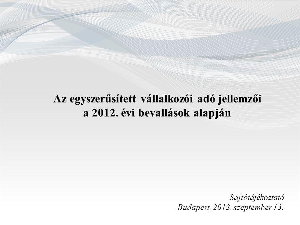 Az egyszerűsített vállalkozói adó jellemzői a 2012. évi bevallások alapján Sajtótájékoztató Budapest, 2013. szeptember 13.