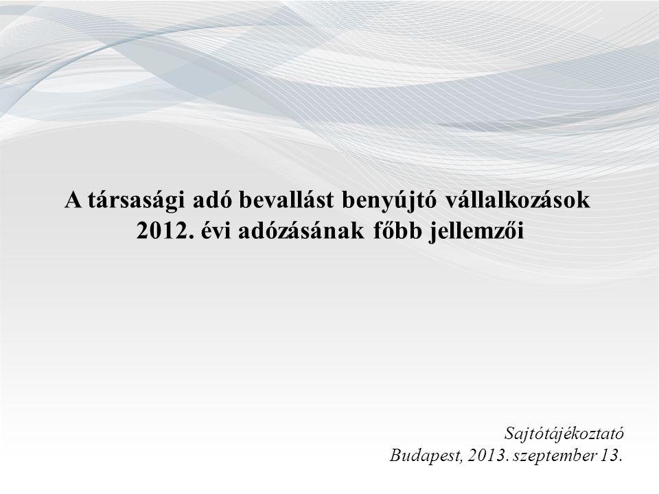 A társasági adó bevallást benyújtó vállalkozások 2012. évi adózásának főbb jellemzői Sajtótájékoztató Budapest, 2013. szeptember 13.