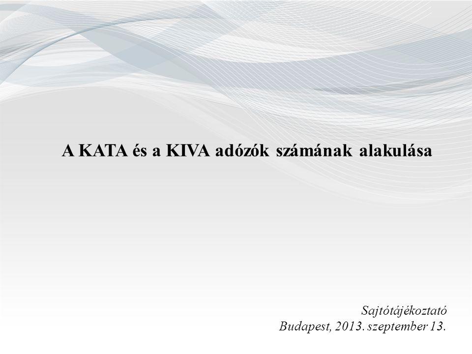 A KATA és a KIVA adózók számának alakulása Sajtótájékoztató Budapest, 2013. szeptember 13.