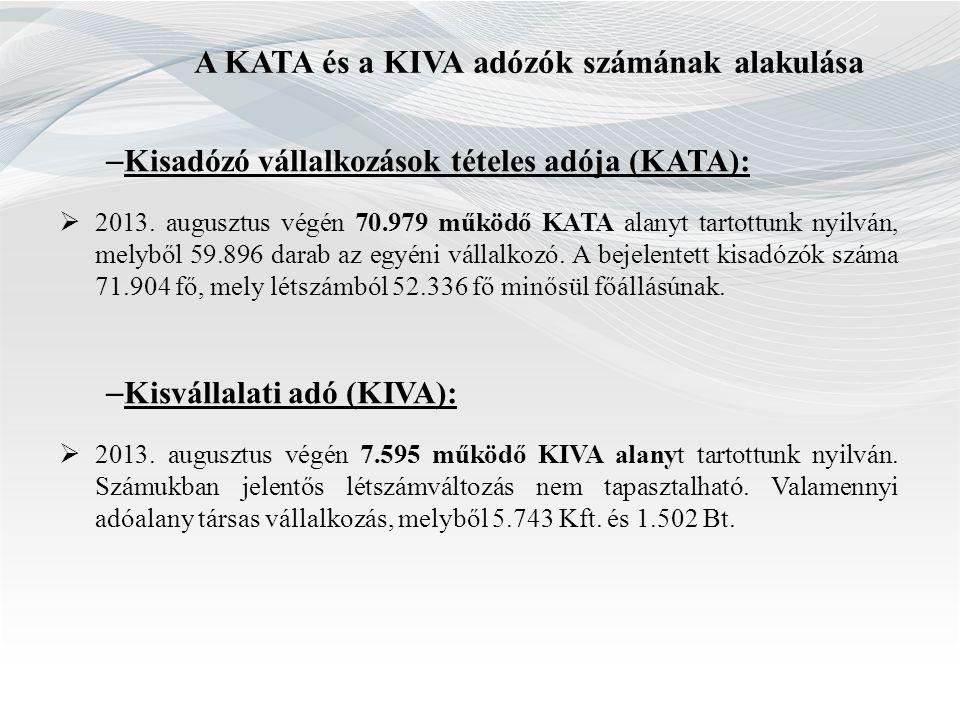 A KATA és a KIVA adózók számának alakulása – Kisadózó vállalkozások tételes adója (KATA):  2013. augusztus végén 70.979 működő KATA alanyt tartottunk