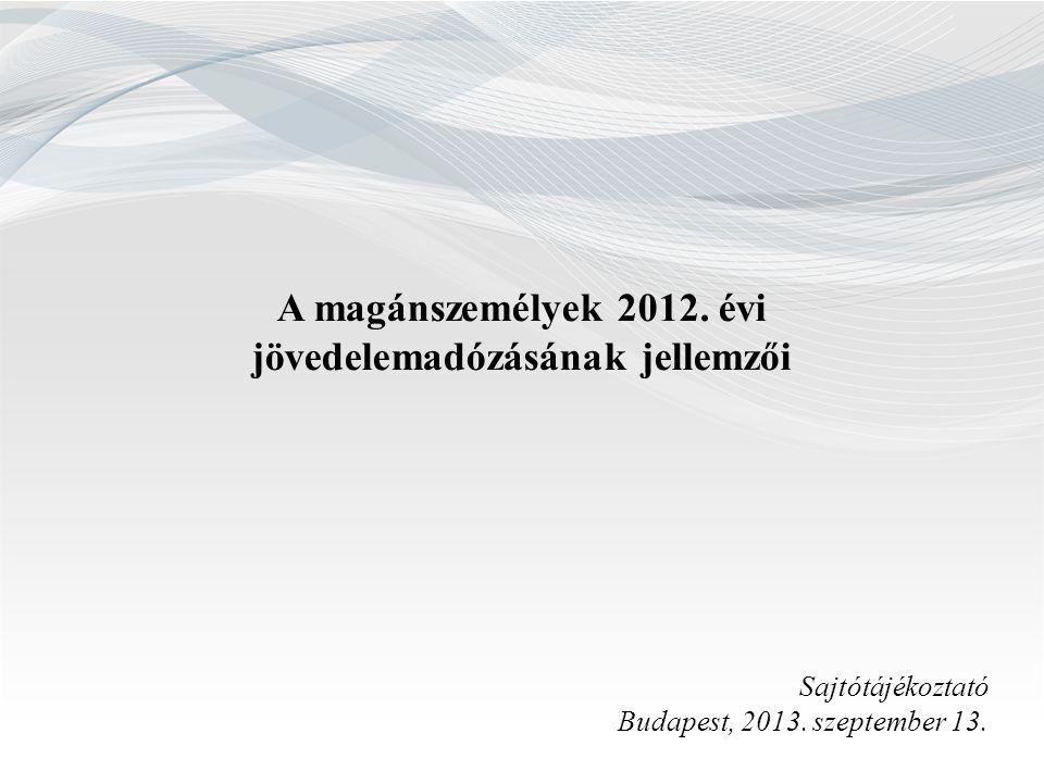 A magánszemélyek 2012. évi jövedelemadózásának jellemzői Sajtótájékoztató Budapest, 2013. szeptember 13.
