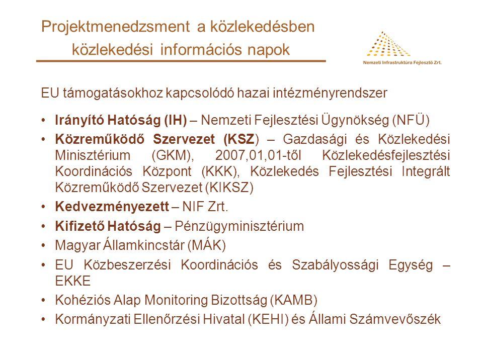 EU támogatásokhoz kapcsolódó hazai intézményrendszer Irányító Hatóság (IH) – Nemzeti Fejlesztési Ügynökség (NFÜ) Közreműködő Szervezet (KSZ) – Gazdasági és Közlekedési Minisztérium (GKM), 2007,01,01-től Közlekedésfejlesztési Koordinációs Központ (KKK), Közlekedés Fejlesztési Integrált Közreműködő Szervezet (KIKSZ) Kedvezményezett – NIF Zrt.