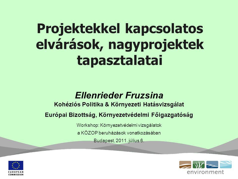 Projektekkel kapcsolatos elvárások, nagyprojektek tapasztalatai Ellenrieder Fruzsina Kohéziós Politika & Környezeti Hatásvizsgálat Európai Bizottság, Környezetvédelmi Főigazgatóság Workshop: Környezetvédelmi vizsgálatok a KÖZOP beruházások vonatkozásában Budapest, 2011.