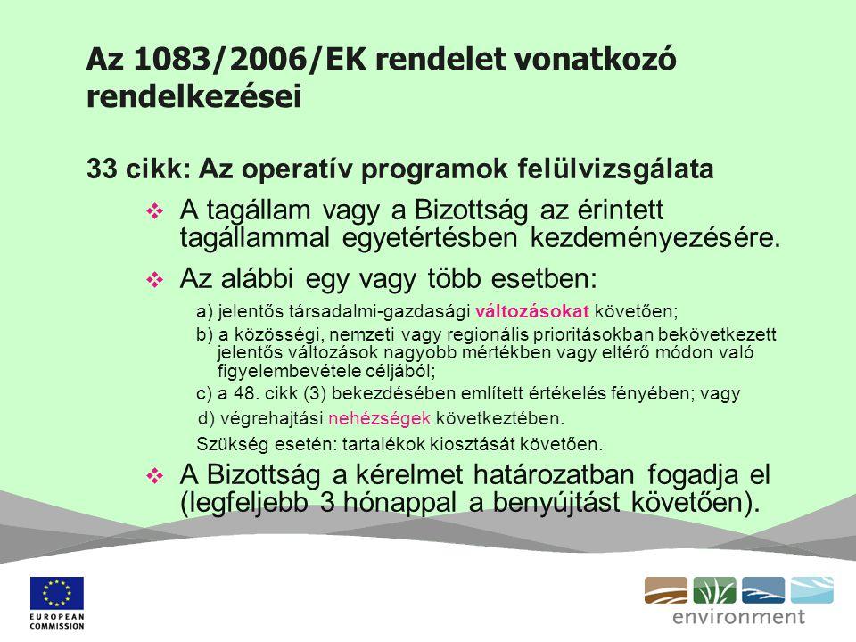 Az 1083/2006/EK rendelet vonatkozó rendelkezései 33 cikk: Az operatív programok felülvizsgálata  A tagállam vagy a Bizottság az érintett tagállammal egyetértésben kezdeményezésére.