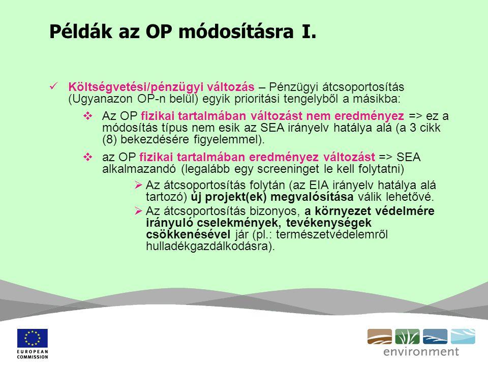 Példák az OP módosításra I. Költségvetési/pénzügyi változás – Pénzügyi átcsoportosítás (Ugyanazon OP-n belül) egyik prioritási tengelyből a másikba: 
