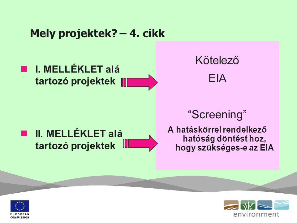 """Mely projektek? – 4. cikk I. MELLÉKLET alá tartozó projektek II. MELLÉKLET alá tartozó projektek Kötelező EIA """"Screening"""" A hatáskörrel rendelkező hat"""