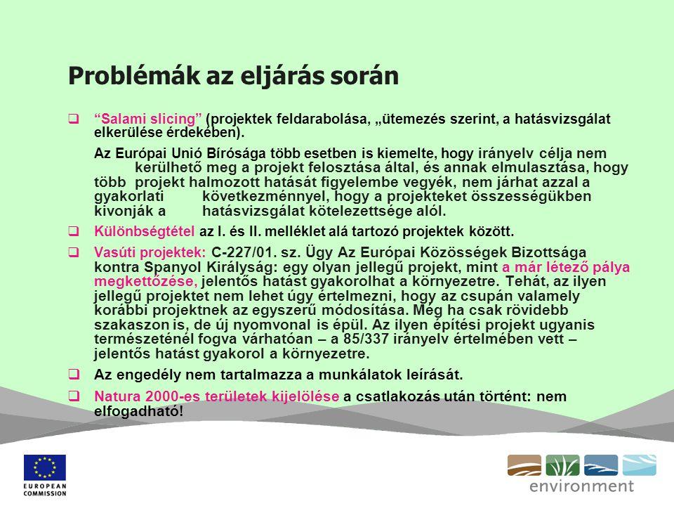 """Problémák az eljárás során  """"Salami slicing"""" (projektek feldarabolása, """"ütemezés szerint, a hatásvizsgálat elkerülése érdekében). Az Európai Unió Bír"""