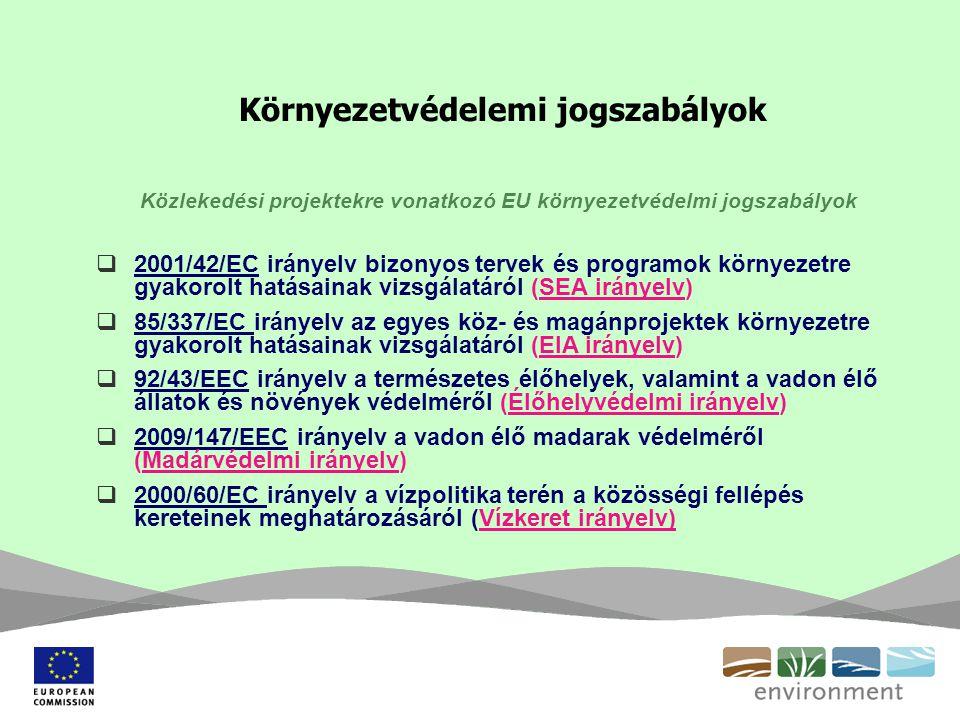 Környezetvédelemi jogszabályok Közlekedési projektekre vonatkozó EU környezetvédelmi jogszabályok  2001/42/EC irányelv bizonyos tervek és programok környezetre gyakorolt hatásainak vizsgálatáról (SEA irányelv)  85/337/EC irányelv az egyes köz- és magánprojektek környezetre gyakorolt hatásainak vizsgálatáról (EIA irányelv)  92/43/EEC irányelv a természetes élőhelyek, valamint a vadon élő állatok és növények védelméről (Élőhelyvédelmi irányelv)  2009/147/EEC irányelv a vadon élő madarak védelméről (Madárvédelmi irányelv)  2000/60/EC irányelv a vízpolitika terén a közösségi fellépés kereteinek meghatározásáról (Vízkeret irányelv)