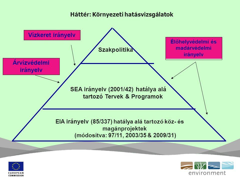 Háttér: Környezeti hatásvizsgálatok Szakpolitika SEA irányelv (2001/42) hatálya alá tartozó Tervek & Programok EIA irányelv (85/337) hatálya alá tartozó köz- és magánprojektek (módosítva: 97/11, 2003/35 & 2009/31) Élőhelyvédelmi és madárvédelmi irányelv Vízkeret irányelv Árvízvédelmi irányelv