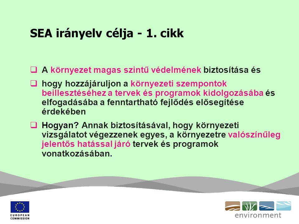 SEA irányelv célja - 1. cikk  A környezet magas szintű védelmének biztosítása és  hogy hozzájáruljon a környezeti szempontok beillesztéséhez a terve