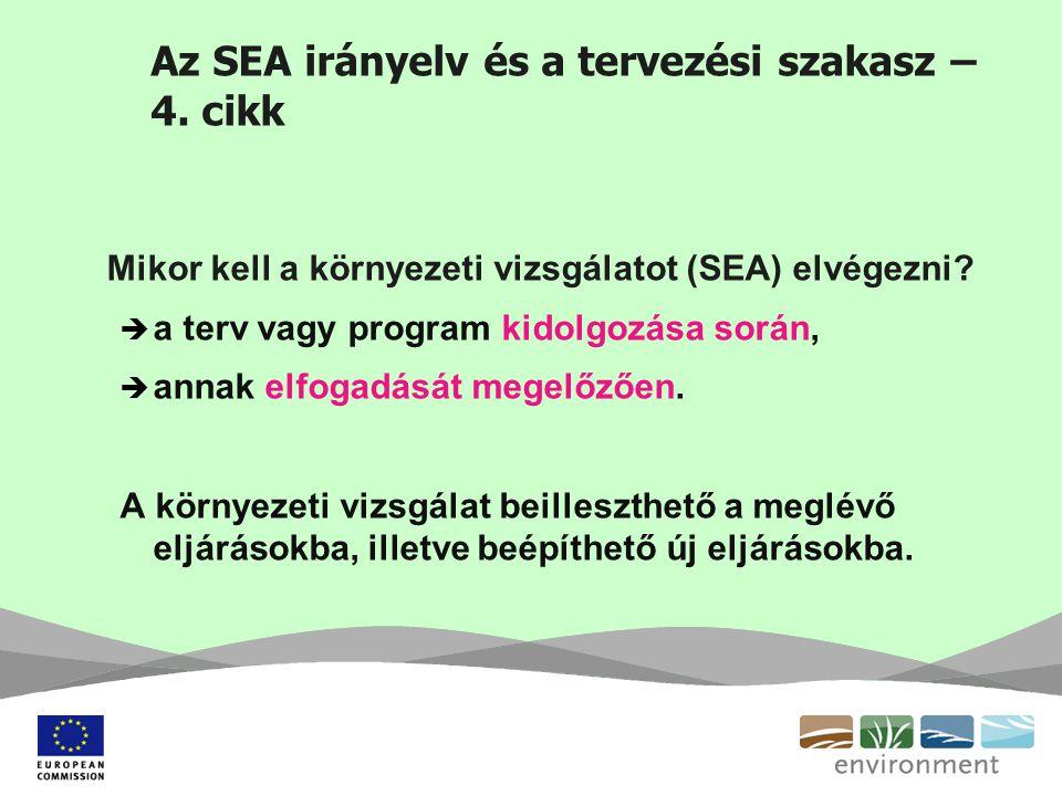 Az SEA irányelv és a tervezési szakasz – 4. cikk Mikor kell a környezeti vizsgálatot (SEA) elvégezni?  a terv vagy program kidolgozása során,  annak