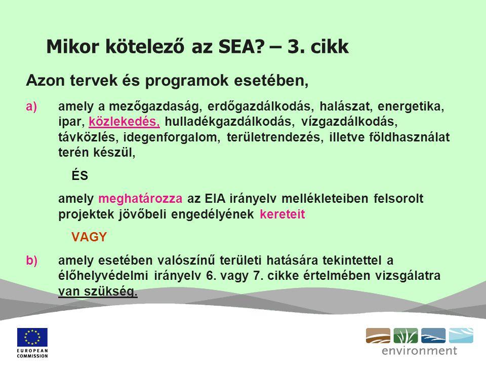 Mikor kötelező az SEA? – 3. cikk Azon tervek és programok esetében, a)amely a mezőgazdaság, erdőgazdálkodás, halászat, energetika, ipar, közlekedés, h