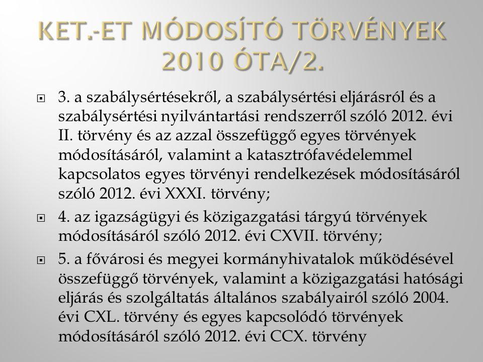  3. a szabálysértésekről, a szabálysértési eljárásról és a szabálysértési nyilvántartási rendszerről szóló 2012. évi II. törvény és az azzal összefüg
