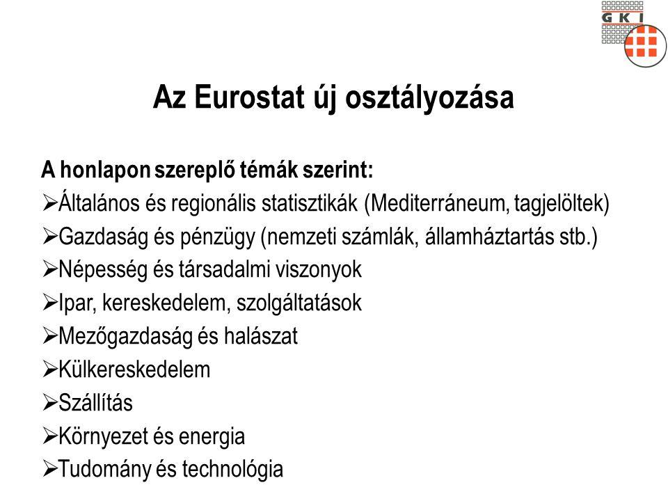 Az Eurostat új osztályozása A honlapon szereplő témák szerint:  Általános és regionális statisztikák (Mediterráneum, tagjelöltek)  Gazdaság és pénzü