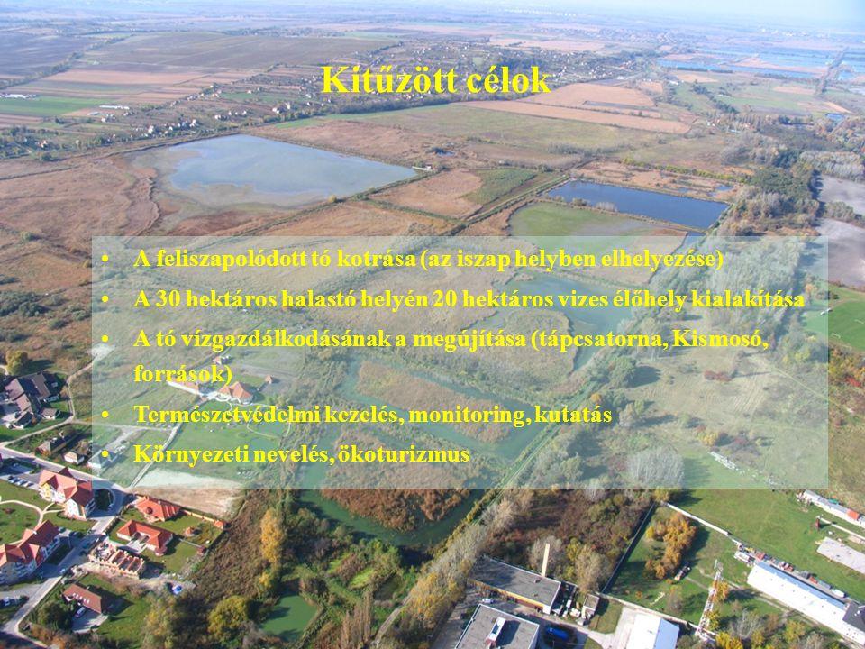 Kitűzött célok A feliszapolódott tó kotrása (az iszap helyben elhelyezése) A 30 hektáros halastó helyén 20 hektáros vizes élőhely kialakítása A tó víz