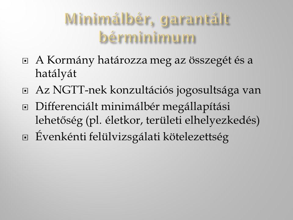  A Kormány határozza meg az összegét és a hatályát  Az NGTT-nek konzultációs jogosultsága van  Differenciált minimálbér megállapítási lehetőség (pl