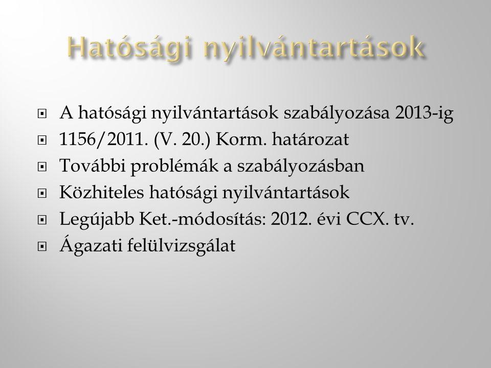  A hatósági nyilvántartások szabályozása 2013-ig  1156/2011. (V. 20.) Korm. határozat  További problémák a szabályozásban  Közhiteles hatósági nyi