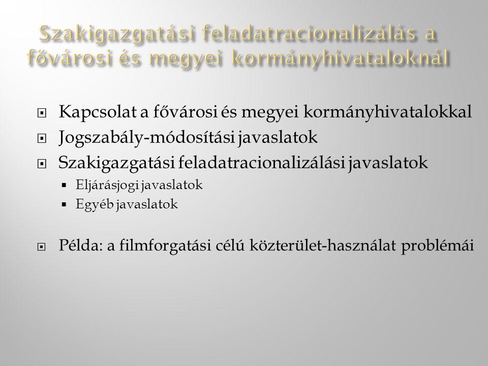 Kapcsolat a fővárosi és megyei kormányhivatalokkal  Jogszabály-módosítási javaslatok  Szakigazgatási feladatracionalizálási javaslatok  Eljárásjo