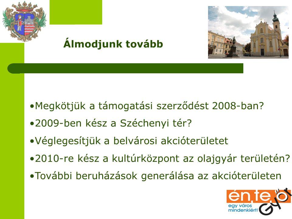 Álmodjunk tovább Megkötjük a támogatási szerződést 2008-ban? 2009-ben kész a Széchenyi tér? Véglegesítjük a belvárosi akcióterületet 2010-re kész a ku